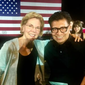 Chamba Sanchez and presiidential candidate Warren